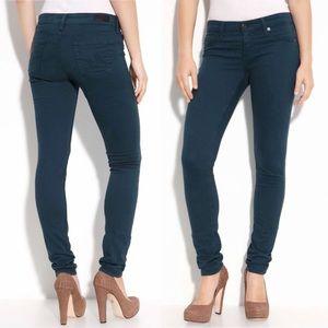 AG The Stilt Cigarette Jeans Dark Teal Size 26
